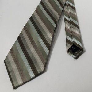 Calvin Klein Green Tones Striped 100% Silk Tie
